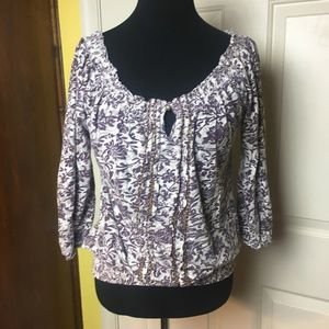 Lucky Brand Floral Smocked 3/4 Sleeve Top
